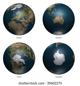 Arctic- Europe - antartica- Oceania aspect of Earth