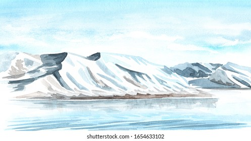 Arctic landscape with glacier. Backgrounds with copy space. Hand-drawn horizontal watercolor illustration