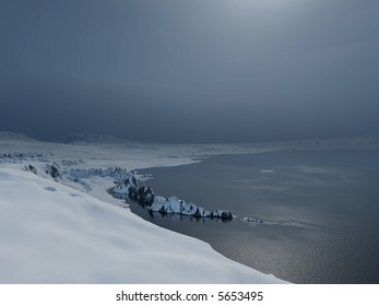 an arctic moonlit scene with snow and dense haze