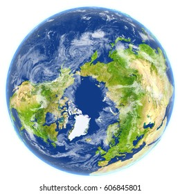 Arctic Ocean. 3D illustration with detailed planet surface. Elements of this image furnished by NASA.