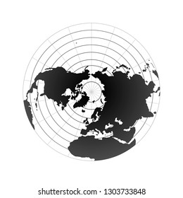 Arctic pole globe hemisphere. World map view from space on white