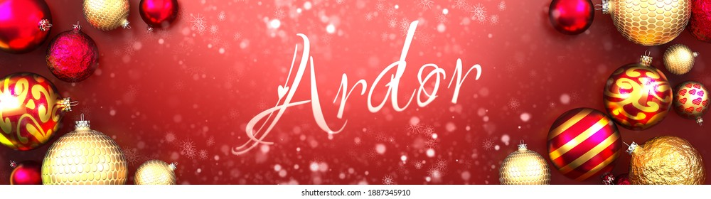 Ardor and Christmas card, red background with Christmas ornament balls, snow and a fancy and elegant word Ardor, 3d illustration