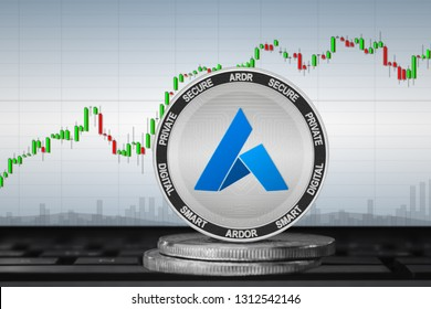 Ardor; cryptocurrency coins - Ardor (ARDR) on the background of the chart. 3d illustration