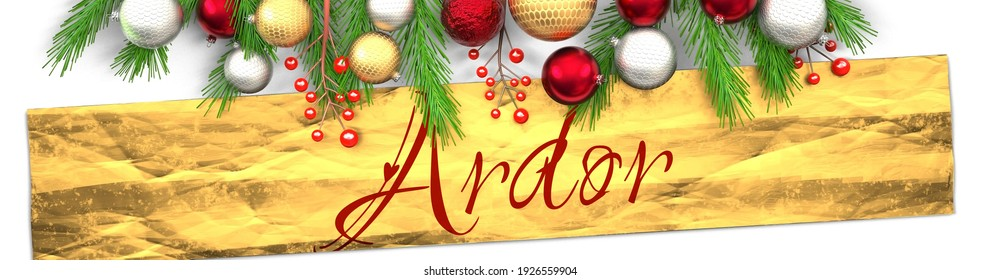 Ardor and white Christmas card with light background, golden present packaging paper, Christmas ornaments and fancy and elegant word Ardor, 3d illustration
