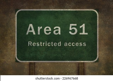 Area 51 roadside sign illustration, with distressed ominous background
