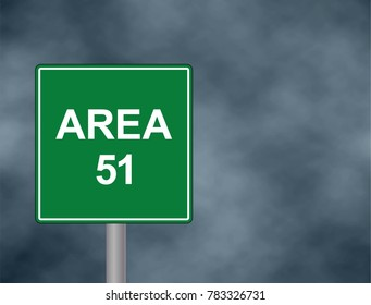 Area 51 roadside sign illustration, with distressed ominousbclouds . Area 51 road sign with dramatic lighting  bacground