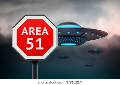 Area 51 sign. UFO flying sausers in background