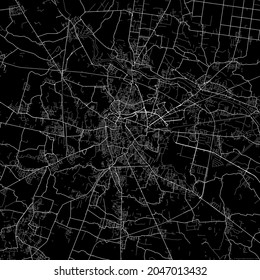 Area map of Padova Italy. Dark background map with white roads for infographic and marketing projects.