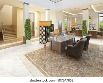 Area stairs and lift indoor lounge area of an expensive hotel. 3D render.