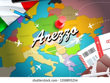 Arezzo city travel and tourism destination concept. Italy flag and Arezzo city on map. Italy travel concept map background. Tickets Planes and flights to Arezzo holidays Italian vacation