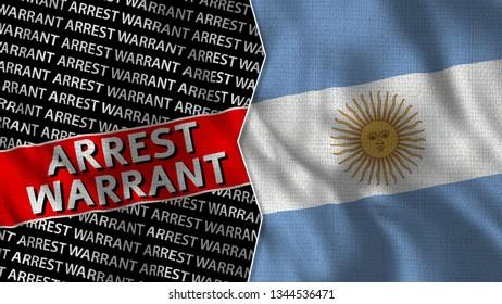 Argentina and Arrest Warrant Titles Flag Together - 3D illustration Fabric Texture