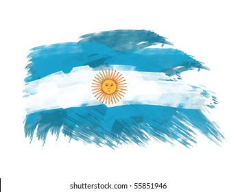 argentina flag in brush strokes in white background