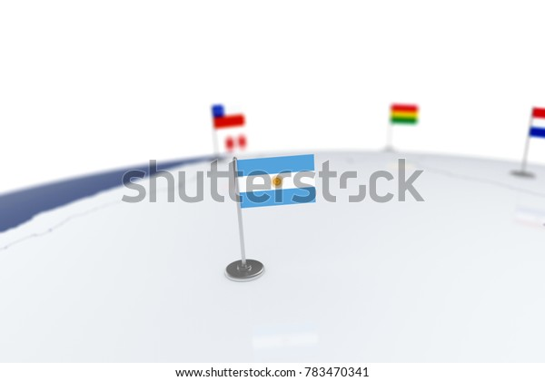Argentina flag. Country flag with chrome flagpole on the world map with neighbors countries borders. 3d illustration rendering flag