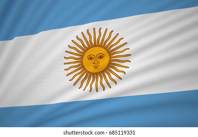 Argentina Flag, Floating Fabric Flag, Argentina, 3D Render