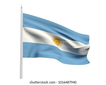 Argentina flag floating in the wind with a White sky background. 3D illustration.