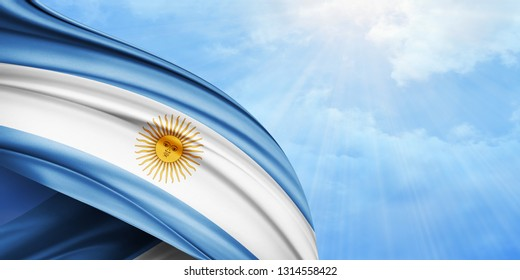 Argentina flag of silk with copyspace for your text or images and sky background-3D illustration