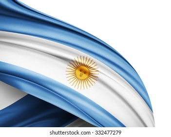 Argentina  flag of silk with copyspace for your text or images and white background