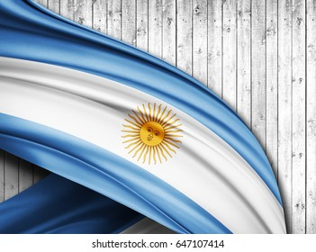 Argentina  flag of silk with copyspace for your text or images and wood  background -3D illustration