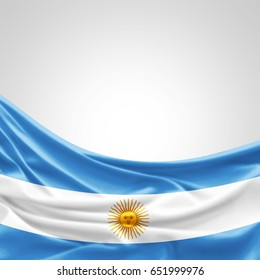 Argentina flag of silk with copyspace for your text or images and white background -3D illustration