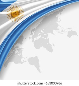Argentina flag of silk with copyspace for your text or images and World map background-3D illustration
