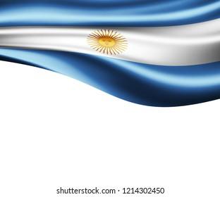 Argentina flag of silk and white background-3D illustration