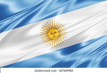 Argentina flag of silk-3D illustration