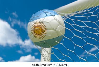 Argentina flag and soccer ball, football in goal net