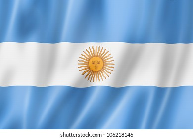 Argentina flag, three dimensional render, satin texture