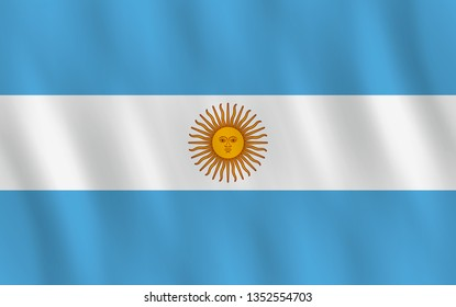 Argentina flag with waving effect, official proportion. Raster copy.