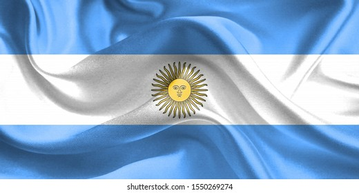 Argentina Flag. Flag of Argentina. Waving Argentina Flags. 3D Realistic Background Illustration in Silk Fabric Texture