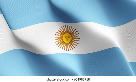 Argentina flag waving on wind.