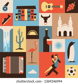 Argentina, flat illustration, icon set, travel background. Guitar, grape, house, bull, boots, wine, sun, waterfall, cactus tree, food, flamingo bird, music, soccer, dance