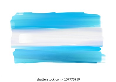 Argentina hand painted national flag isolated on white