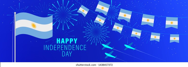 July9 Argentina Independence Day greeting card. Celebration background with fireworks, flags, flagpole and text.