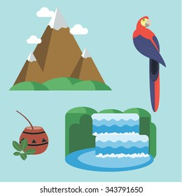 Argentina - set of icons and illustrations. Mountains in the clouds. Waterfall and National Park. Tea, Mate. The bright tropical parrot. Attractions in Argentina.