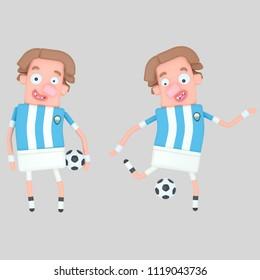 Argentina soccer player. 3d illustration