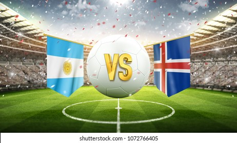 Argentina vs Iceland. Soccer concept. White soccer ball with the flag in the stadium, 2018. 3d render