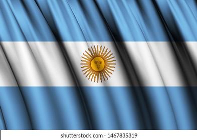 Argentina waving flag illustration. Countries of North and Central America. Perfect for background and texture usage.
