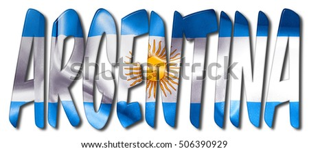 argentina word flag texture on isolated stock illustration 506390929