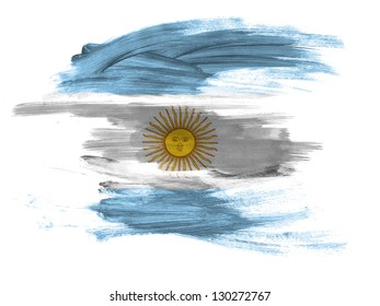 Argentine. Argentinean flag  painted on white surface