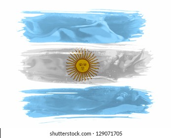 Argentine. Argentinean flag  painted with three strokes of paint in white