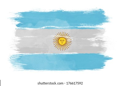The Argentine flag painted on white paper with watercolor