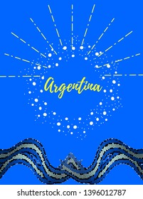 Argentine patriotic design. Abstract cockade and flag ribbons