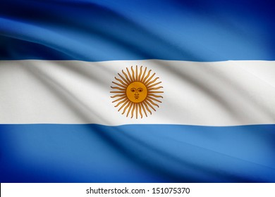 Argentinean flag blowing in the wind. Part of a series.