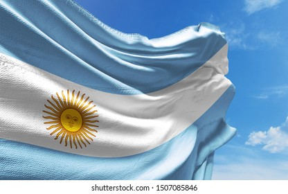 Argentinian flag is waving against blue sky with clouds. Realistic reflections and textures with high resolution. 3D rendering.