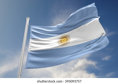 Argentinian flag is waving at a beautiful and peaceful sky in day time while sun is shining. 3D Rendering