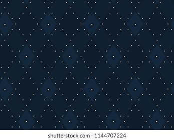 Argyle pattern. Simple geometric all over patchwork diamond motif for cloth fabric, interior textile, polo shirt, scrap paper. Seamless floral indigo print. Small medallion dot line design.