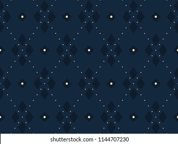 Argyle pattern. Simple geometric all over patchwork diamond motif for cloth fabric, home textile. Seamless floral indigo print block. Small medallion dot line design. Look the same 1233341533.
