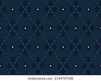 Argyle pattern. Simple geometric all over patchwork diamond motif for cloth fabric, home textile, scrap paper. Seamless floral indigo print. Small medallion dot line design. Decorative printing block.