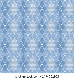 Argyle print in blue colors. Seamless knitted pattern with rhombuses. Checkered background. Raster